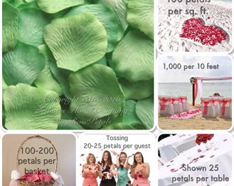 500 Kiwi Rose Petals - Kiwi Green Silk Rose Petals
