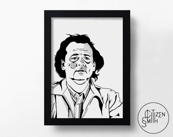 WHAT ABOUT BOB? - Bill Murray - Hand-Drawn Film Art Print/ Movie Poster