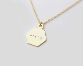 Personalized Hexagon Name Necklace / Monogram Necklace / Personalized Gift