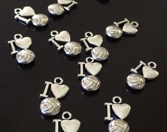 10 PC 3D Volleyball Charm-Sports Charm-Antique Silver Tone Charms
