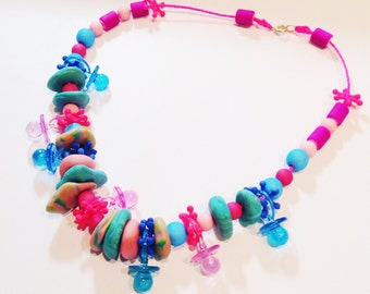 Novelty Baby Pacifiers and Beaded Necklace- kitsch, charm.