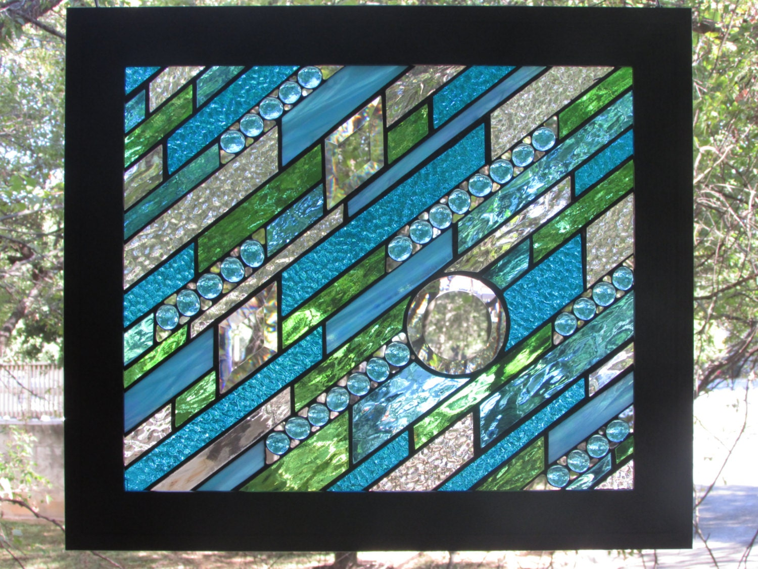 framed stained glass panel