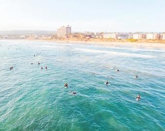 San Diego Photography, Pacific Beach Pier, Surfers, Large Wall Art, Large Beach Wall Art, San Diego Surf, Turquoise, Aqua Ocean Print
