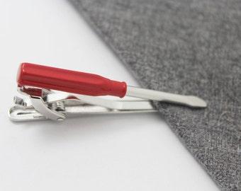 The Screwdriver  Tie Clip, Scissors  Tie Tack, Hero Tie Tack, Silver Tie Clip, Novelty Tie Bar, Gift For Man