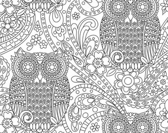 Color Me by Michael Miller- What A Hoot White - Cotton Woven Fabric