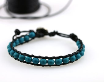 Teal wood beads bracelet Turquoise stacking bracelet Black leather cord Southwestern jewelry Teal single wrap bracelet Metal button closure
