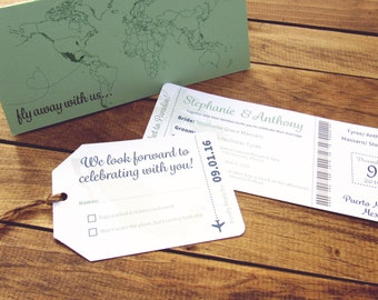 Boarding Pass Wedding Invitation, Save the Date, Mint Green, Turquoise, Cruise Theme, Destination, Ticket, Travel Map, Europe
