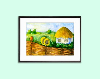 Printable Wall Decor Watercolor Landscape rural  Solar Ukraine sunflower Ukrainian traditions Instant Download in 2 size