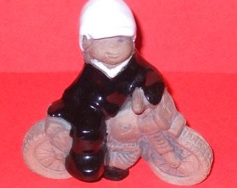 ON Sale! Figurine Porcelain Vintage JIE Gantofta SWEDEN marked figurine motorcyclist