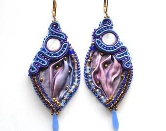 SALE 20% OFF, Shibori Silk Earrings, Extra Long Earrings, Luxury Earrings, Soutache Jewelry, Blue Purple Jewelry, Fashion Gift For Wife
