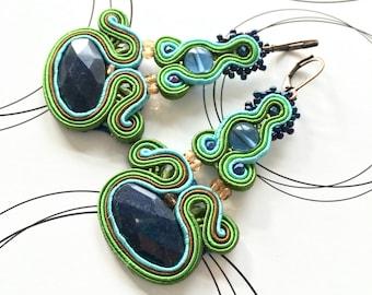 SALE 20% OFF Peacock Earrings, Long Dangle Earrings, Blue Green Earrings, Large Earrings, Christmas Gift For Her, Oriental Jewelry