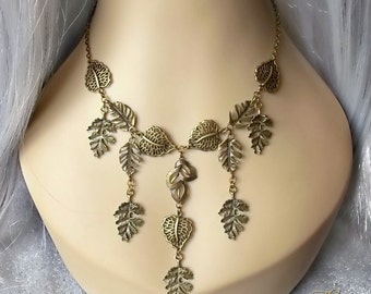 Woodland Necklace, Bronze Leaves Necklace, Pagan Leaf Necklace, Forest Fairy Necklace, Autumn Necklace, Medieval Necklace, Cosplay, Larp