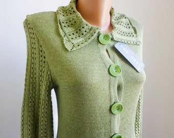 Olive Green women cardigan, vintage outerwear, elegant boutique cardigan, long cardigan,  knitted clothes