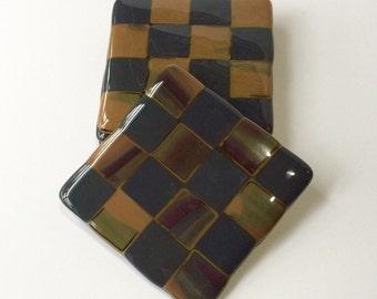 Drink Coaster Set, Grey and Brown, Coaster Set, Checkerboard Design
