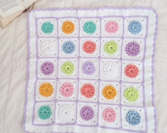 Baby blanket | Crochet blanket - crochet, multi colored, popcorn stitch grannies