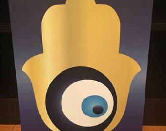 Blue and Gold Hamsa Chamsa Evil Eye Canvas 11x14