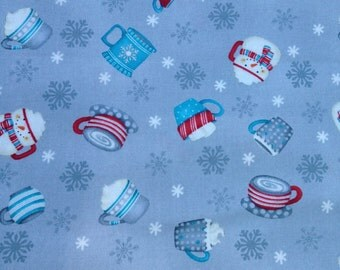 All Bundled Up fabric, mugs on grey background by Debbie Mumm for Wilmington Prints.