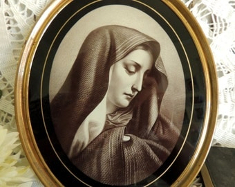 Brass Frame, Crying Virgin Mary, Antique Picture in Brass Frame, Vintage Oval Brass Frame, Religious Catholic, Collectibles, Rare