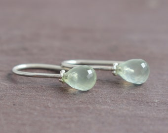 small Prehnite earrings in sterling silver