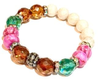 Gemstone Boho Glam Gypsy Bracelet-Stretch Gypsy Boho Bracelet Gemstone Boho Glam Bracelet
