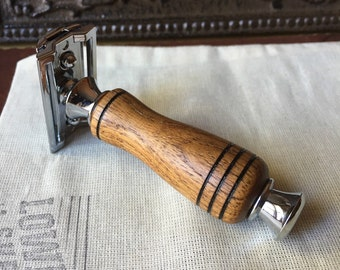 Handmade 'Shorty' Burma Teak DE Safety Razor - Blades Included