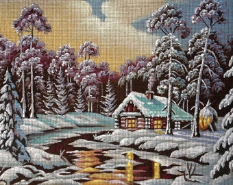 "Gobelin Tapestry Needlepoint Kit ""Winter night"" hand painted canvas G1102"