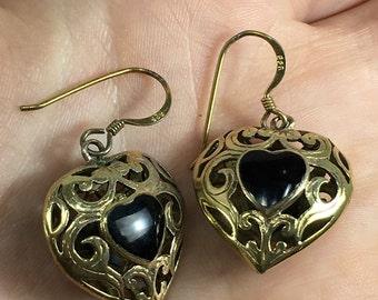 Vintage Onyx 925 Sterling Silver Heart Shaped Dangle Earrings E-266