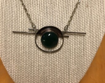 Gorgeous Avantgarde Green and Sterling Silver Necklace