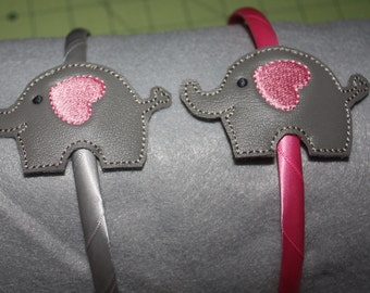 Elephant slider headband, Hair accessory, Felt headband, Embroidered headband, hard or elastic headband