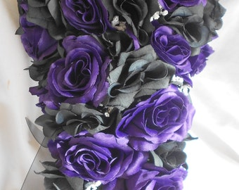 Gothic Silk Wedding bridal bouquet  black and Royal  purple 2 pc Cascade style made of all roses