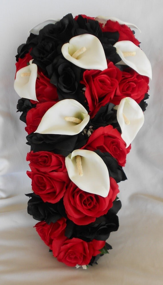 Black and red with white callas silk cascade wedding bridal bouquet