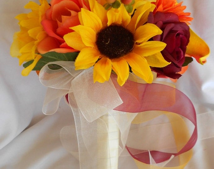 Sunflowers flowers bridal bouquet, Calla lilies , gerbera daisy and roses .Orange , yellow and burgundy 2 pc