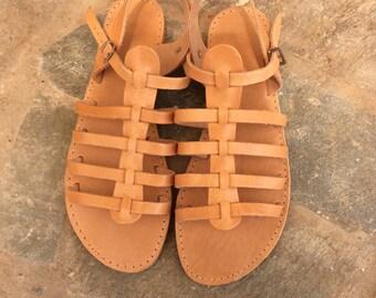 Gladiator Flats, Greek Sandals, Real Leather Sandals, Greek sandals in natural leather, Genuine leather, Women's gladiators,  Roman Sandals.