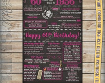 60th Birthday 1956 Chalkboard Poster Sign, Instant Download Digital Printable File, 60 Years Ago Born in 56 USA Events, 60th Birthday Gift