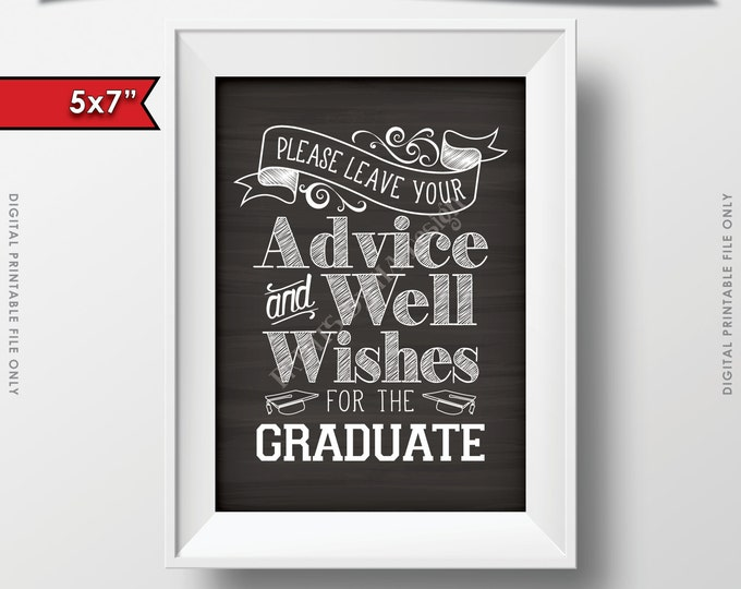 "Please Leave your Advice and Well Wishes for the Graduate Printable Chalkboard Sign, 5x7"" Digital Printable Instant Download File"