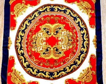 Baroque Pattern Scarf, Silk Scarf, Printed Scarf