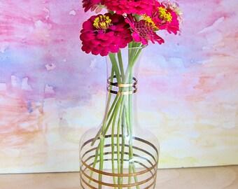Retro Glass Vase or Carafe with Gold Trim: Mid Century Barware Style