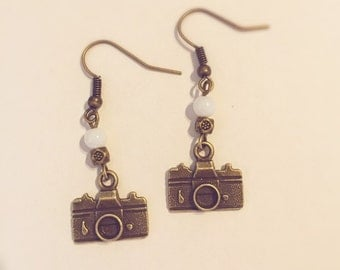 Earrings vintage old camera