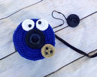 Cookie Monster Camera Buddy.  Photo buddy.  Lens Pal with squeaker on back.