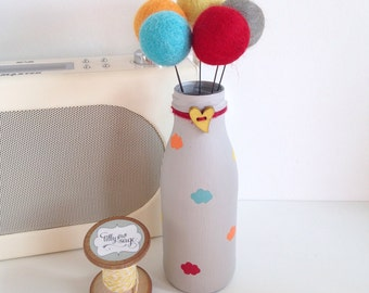 Hand painted mini cloud milk bottle with matching pom pom flowers