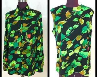 2pc Vintage // M L \\ Women's SET of TWO Tank + Button-down SLINKY Cover Up