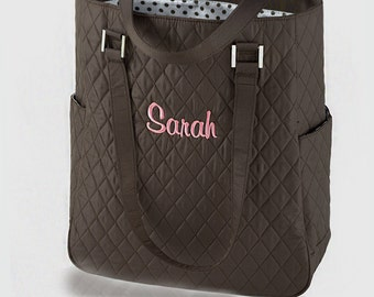 Quilted Brown Tote with Polka Dot Lining {ON SALE} (c118-1113-1) - Free Personalization