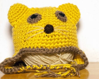 Lioness-shaped hat made of crochet in different sizes from newborn to adult