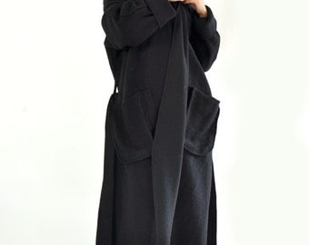 Black wool coat/Casual long coat/Loose maxi coat/Plus size coat/Long warm coat/Plus size jacket/Black jacket/Two pockets/C0233
