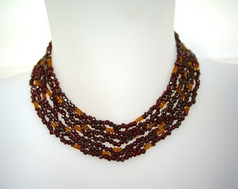 Garnets and citrine necklace