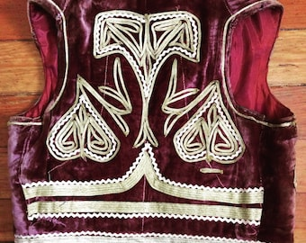 Vintage burgundy and gold embroidered vest.