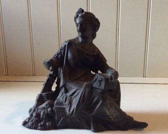 Ansonia Spelter Clock Topper/Antique Ansonia Figural Clock Topper, Side Piece/Ansonia Made for American Wringer Co./Spelter Goddess Figural