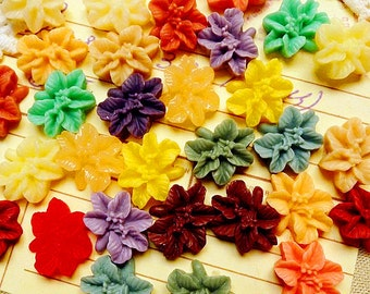 14mm Colorful Resin Flowers Cabochons Resin Garden Flowers Cameo Flat Back  rf19(10pcs)
