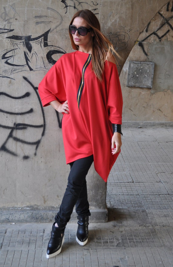 New Collection XXL, XXXL / Oversize Red Twisted Tunic / Loose Burgundy Top / Black Zipper Loose Red Tunic by EUGfashion - 2780