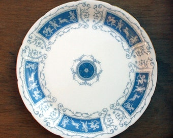 Vintage Coalport Blue and White bone china dinner plate or display plate in the Revelry pattern 10.5 inches